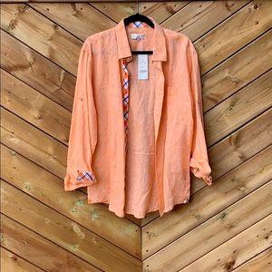 Men's Orange Linen Amiani Button-Up Shirt, large